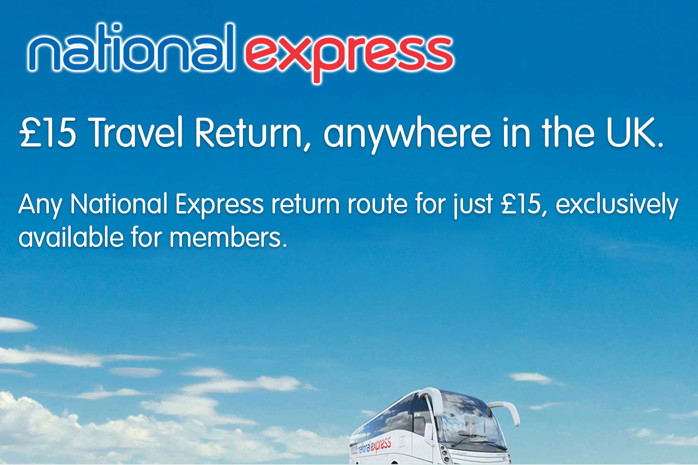 £15 Anywhere to anywhere return - National Express