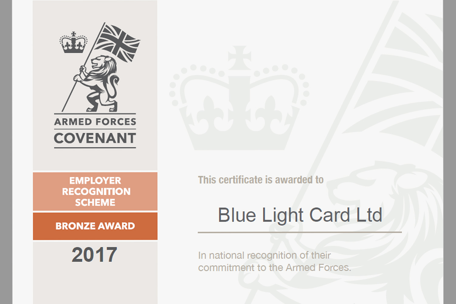 Armed Forces Covenant bronze award for BLC